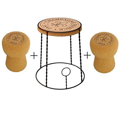 Biosughero - Set Arredamento Design winebar - Tavolino Gabbietta + 2 sgabelli Champagne in Sughero