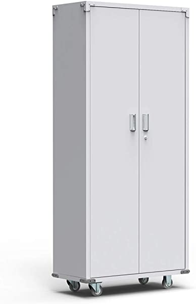 AlightUp 69 Inch Tall Steel Storage Cabinet Rolling Metal Storage Locker With Adjustable Shelves And Door For Garage Office Kitchen Laundry Room