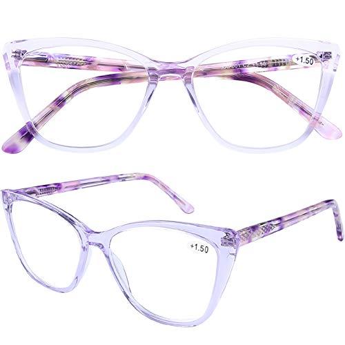 Stylish Cat Eye Computer Reading Glasses Designer Blue Light Block Eyeglasses Readers Anti UV400 Digital Eyestrain with Sping Hinge for Women,Purple 1.5