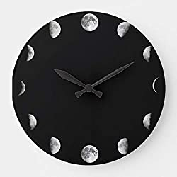 wojuedehuidamai6 Silent Wall Clock - Great Cool Moon Phases Minimal Novelty - Decorative Wall Clock for Home、Office and Cafe with 9.5in