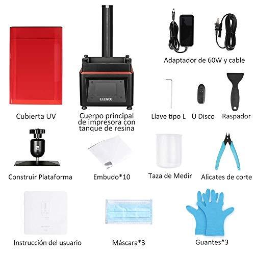 ELEGOO MARS Impresora 3D UV Fotocurado con 3.5' Pantalla Táctil Inteligente de Color Impresión Fuera de Línea 115mm(L) x 65mm(W) x 150mm(H) Tamaño de Impresión-Negro