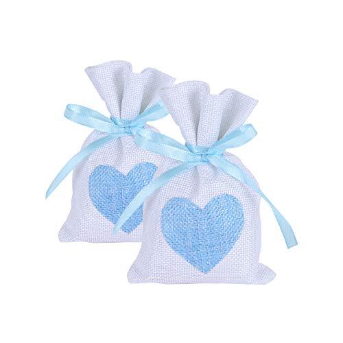 Wolfteeth 24 pz 14 x 10 cm Sacchetti Iuta Lino Regalo Caramella portaconfetti Bustine per Battesimo Matrimonio Confetti Gioielli – Cuore Blu 782206