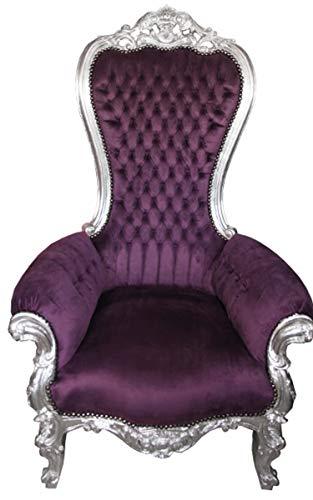 Casa Padrino Baroque Throne Majestic Medium Purple/Silver - Giant Chair - Chair Throne Tron