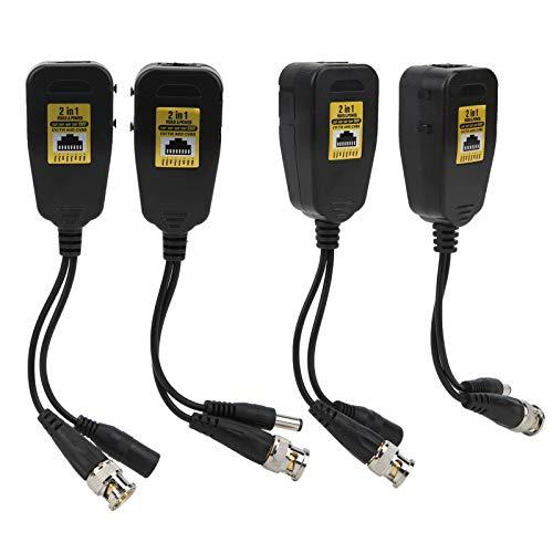 Transmisión Balun 2in1HD-CVI/TVI/AHD/CVBS 2~8MP 4Pcs Transmisor Video Power Balun para protección contra truenos