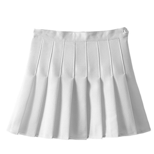 Women Girls Japan Short High Waist Flared Pleated Skater Tennis Skirts Sports Golf Back to School Uniform Skirt Schoolgirl Cheerleader A-Line Cosplay Costume Mini Scooter Skorts Skirts White X-Large