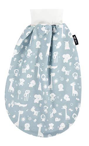 Alvi Baby Schlupfmäxchen light Exclusiv | Schlafsack 0-6 Monate | Baby-Schlafsack 100% Baumwolle | Sommerschlafsack waschbar, Design:Zootiere puderblau