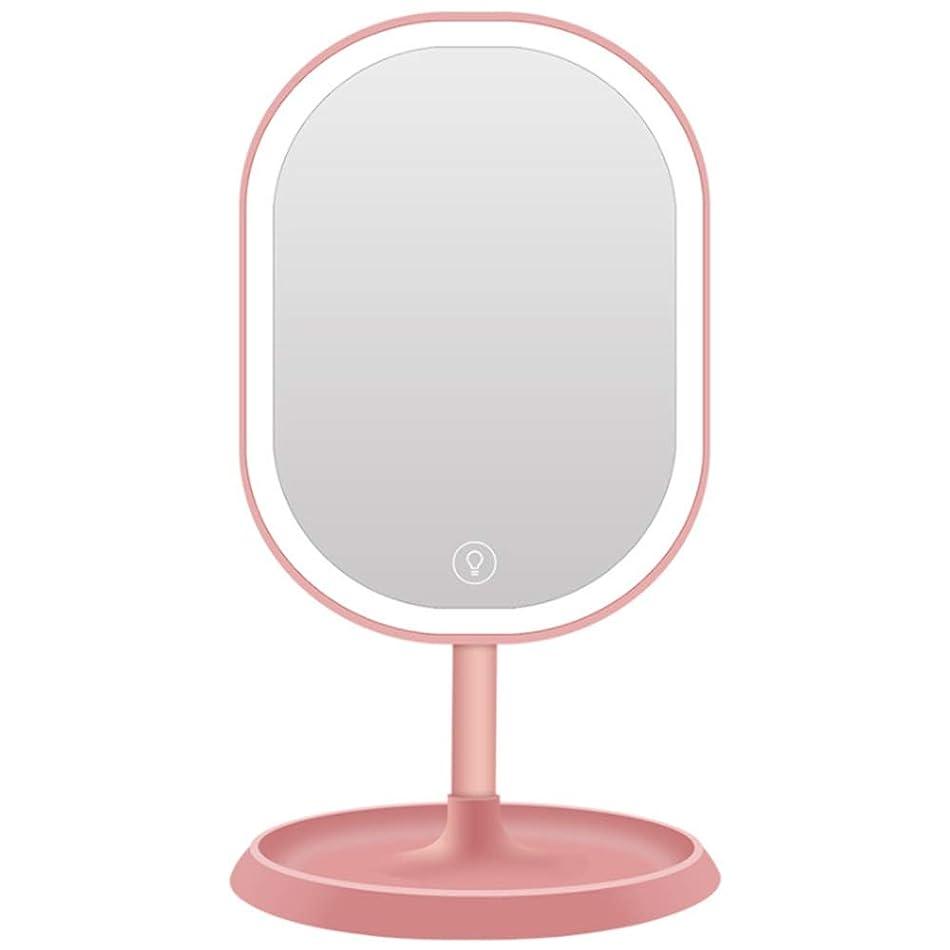 ニンニク気球上向き化粧鏡 LightsLightedミラー付きタッチスクリーン調光ミラー付き充電式LED化粧化粧台180°調節可能な回転USB電源 (色 : ピンク, サイズ : Free size)