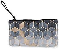 女性の女の子のキャンバスの現金小銭入れハンドル付き旅行化粧品バッグ