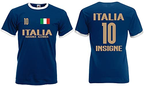 Italien Insigne Herren Retro Shirt EM 2020 Squadra Trikot Look Style Dunkelblau S