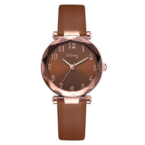 HBR Reloj Señoras for Mujer clásico de Cuero Simples números analógico de Pulsera de Cuarzo Caso árabe Relojes de Ropa Informal Accesorios de Moda (Color : Brown)