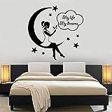 Citation Sticker Mural Art Fille Lune Étoile Nuit Ma Vie Mon Rêve Vinyle Autocollant Mural Fille Femme Chambre Décoration de La Maison Sticker Mural 47 x 40 cm