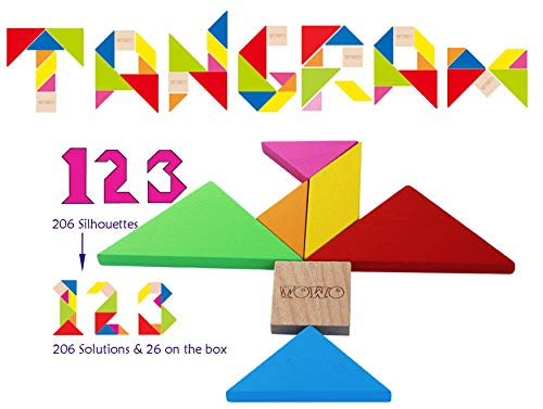 Toys of Wood Oxford Rompecabezas Tangram de Madera - Forma a los Bloques de patrón con 7 Grandes Formas geométricas de Colores - Juego de Habilidad Madera de Rompecabezas para niños y Adultos