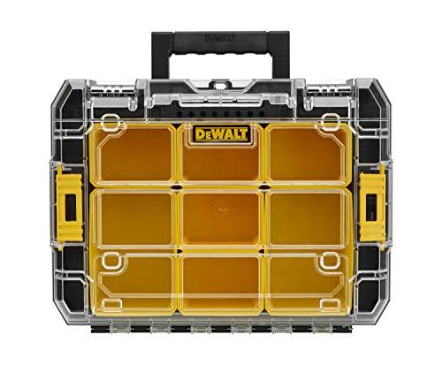 DeWalt DWST1-71194 T-STAK V Unità Porta Minuterie/Elettroutensili con Coperchio Trasparente, Composto da Interni Modulabili, 2 Grandi e 5 Piccoli, Cerniere per Aggancio Laterale