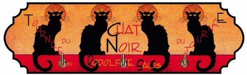 ACCROCHE TORCHONS Serviettes CLES en Metal Tournee Chat Noir