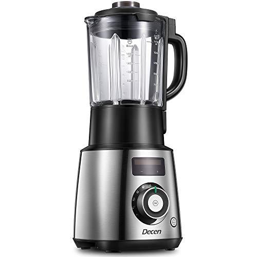 Standmixer Smoothie Blender, Decen Smoothie Maker 1500W Mixer Hochleistungmixer Multifunktionel Eis-Zerkleinerungsmaschine 28000U/min mit 1.7L Tritan BPA-freies Glasbehälter, Wärmefunktion edelstahl