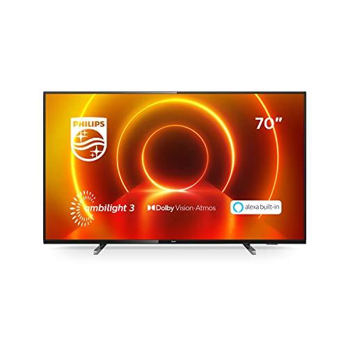 Philips 70PUS7805/12 70-Zoll Fernseher mit Ambilight und Sprachsteuerung (4K UHD LED TV, HDR10+, Dolby Vision, Dolby Atmos, Saphi Smart TV) - Rahmen Grau, Standfuß Silber [Modelljahr 2020]