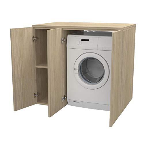 Ve.Ca. Mobile lavanderia con ante Riga 105 cm in legno, copri lavatrice/asciugatrice, diversi colori, anche su misura, bagno (Rovere rock)