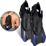 Khroom Aletas cortas ajustables para esnórquel, con bolsillo para colgar, tallas 36-47, aletas cortas para natación para adultos, mujeres y hombres, aletas de buceo (36-41)