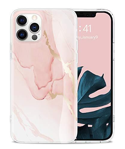 Togestar Marmor Hülle für iPhone 12/ iPhone 12 Pro, [MoonRiver Series 2021 Design] Ultra Dünn Silikon Handyhülle, Flexibel Schutzhülle Marble Case, Rosa
