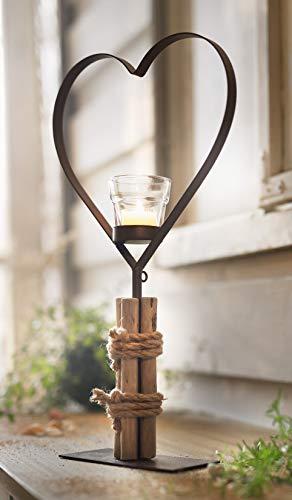 großes Metall-Herz mit Glas-Teelichthalter, 45 cm hoch, Sockel mit Treibholz, Hochzeitsdeko, Dekoherz, Tischdeko