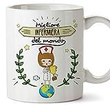 Mugffins Infermiera Tazze Originali di caffè e Colazione da Regalare Lavoratori e Professionisti - Migliore Infermiera del Mondo - Ceramica 350 ml