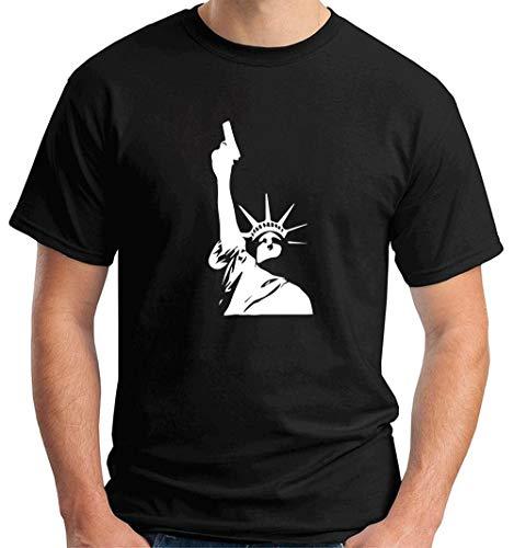 T-Shirt Hombre Negro FUN3691 de Estatua de la Libertad con la Escopeta