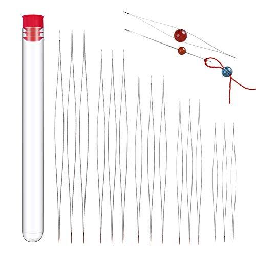 18 Stück Bead Nadeln, Große Auge Perlen Nadel 6 Größen Nähnadeln aus Edelstahl, Perlen Nadel für Stickerei Beading Nadeln mit Nadel Flasche