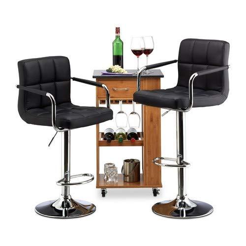 Relaxdays Barkruk 2-delige set, in hoogte verstelbaar, draaibaar, met leuning, kunstleer, metaal, HxBxD: 115 x 53 x 43 cm, zwart