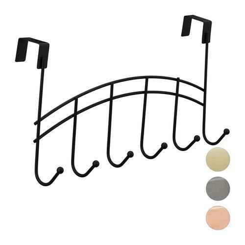 Relaxdays Türgarderobe, geschwungene Türhakenleiste zum Einhängen, 6 Haken, stumpfe Tür, Metall, 21x40x10,5cm, schwarz