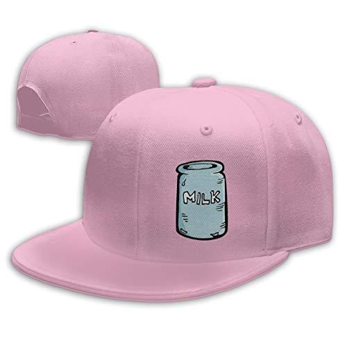Shenigon Milk House Flat Visor Baseball Cap, Designed Snapback Hat Pink