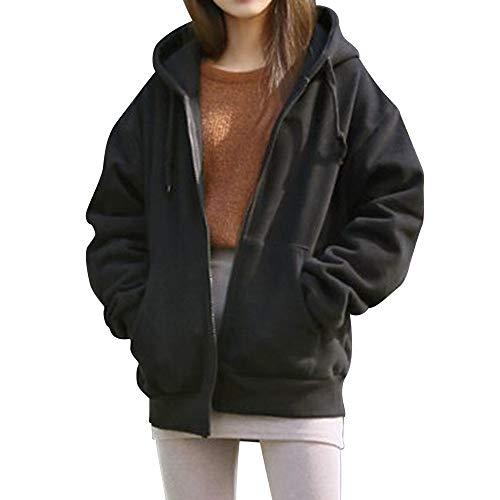 Sumeiwilly-Damen Mäntel Kapuzenjacke Langer Outwear mit Hohem Kragen Kapuzenpullover Ladies Jacket Cardigan Sweatshirt-Jacke mit Kapuze