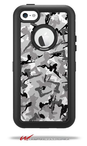 Sexy Girl Silhouette Camo Gray - Decal Style Vinyl Skin fits Otterbox Defender iPhone 5C Case (CASE SOLD SEPARATELY)