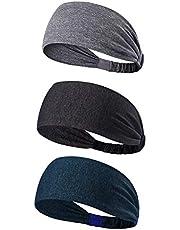 BS-26 3 Pack Sports Headband/Sweat Band Hairband para Hombres Mujeres Correr, Baloncesto, fútbol, Tenis, Ciclismo, Cardio, Ejercicio de Gimnasio, Entrenamiento (3 Pack Sports Headband)