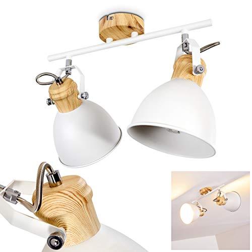 Plafoniera Banjul, in metallo in bianco/legno, a 2 luci, attacco lampadine E27 max. 40 watt, adatta a lampadine a LED. I faretti sono singolarmente orientabili. Design retró/vintage