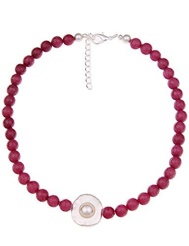 Leslii Damenkette Agate Naturstein Stein-Kette Collier kurze Halskette pinke Modeschmuck-Kette 48cm in Pink Silber