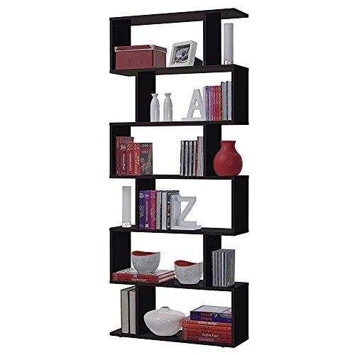 Habitdesign - Estanteria Athena alta, libreria abierta salon, 80 x 25 x 192 cm de altura (Negro Brillo)