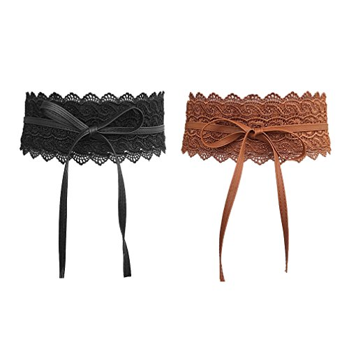 AIYUE Donna Pizzo Cintura Bow Cravatta Wrap Around Obi Vita Ecopelle Band Cinch Boho Cinture in Ecopelle