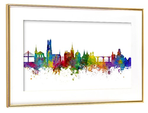 artboxONE Poster mit Rahmen Gold 60x40 cm Fribourg Switzerland Skyline von Michael Tompsett - gerahmtes Poster