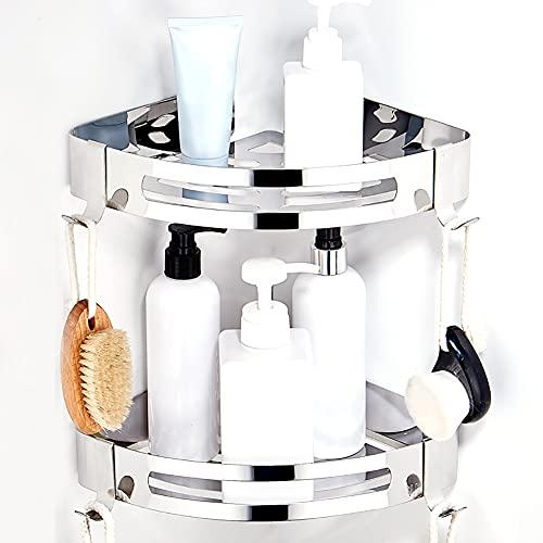 CROSOFMI Duschregal Ohne Bohren Duschablage Eckregal Duschkorb für Badezimmer Edelstahl 304 (Dreieck, 2 Packungen)
