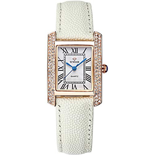 PCSB Damenuhr, Gold White Square Watch Damen Leder Casual Clock Quarz Damenuhr,Goldshellleucorrhea
