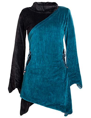 Vishes- Alternative Bekleidung - Asymmetrisches Lagenlook Samtkleid mit Zipfeln und Langen Ärmeln türkis-schwarz 48-50