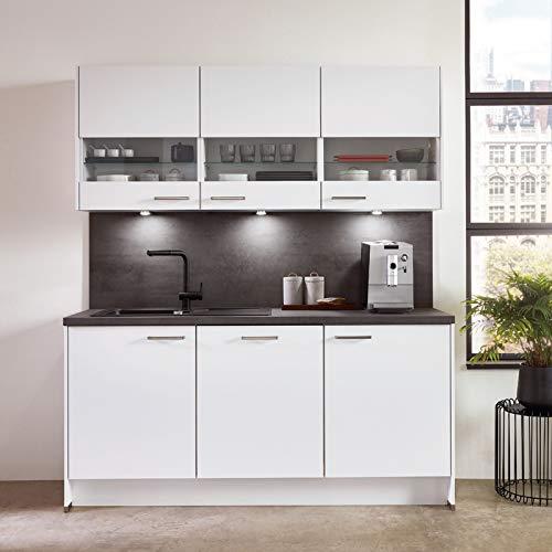 Küchenzeile Einbauküche nobilia elements URBAN | Beton Schiefergrau | 4,59 m | vormontiert | inkl. E-Geräte