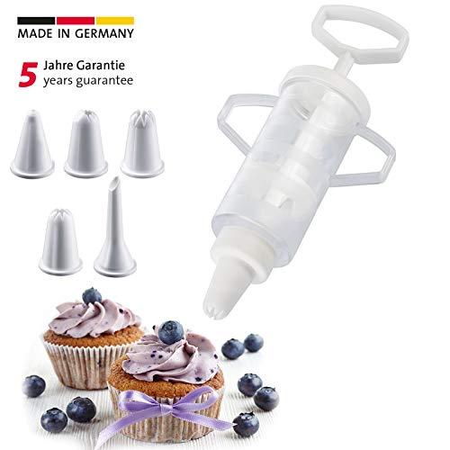 Westmark Garnierspritze mit 5 Verschiedenen Form-Tüllen, Füllvolumen: 100 ml, Kunststoff, Transparent/Weiß, 30772270