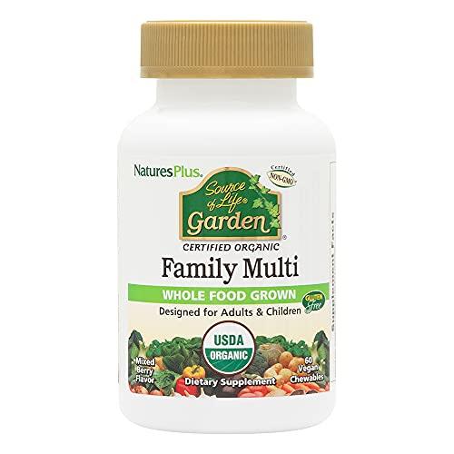NaturesPlus Source of Life Garden Certified Organic Family Chewable Multivitamin - 60 Vegan Chewables - Mixed Berry Flavor - for Adults & Children - Vegetarian, Gluten-Free - 30-60 Servings