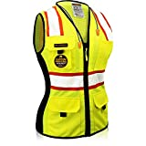 KwikSafety (Charlotte, NC) FIRST LADY Class 2 Fitted Safety Vest for Women High Visibility Reflective Heavy Duty Mesh Pockets Zipper HiVis ANSI OSHA Construction Work | Yellow Small
