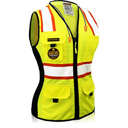 KwikSafety (Charlotte, NC) FIRST LADY Class 2 Fitted Safety Vest for Women High Visibility Reflective Heavy Duty Mesh Pockets Zipper HiVis ANSI OSHA Construction Work   Yellow Large
