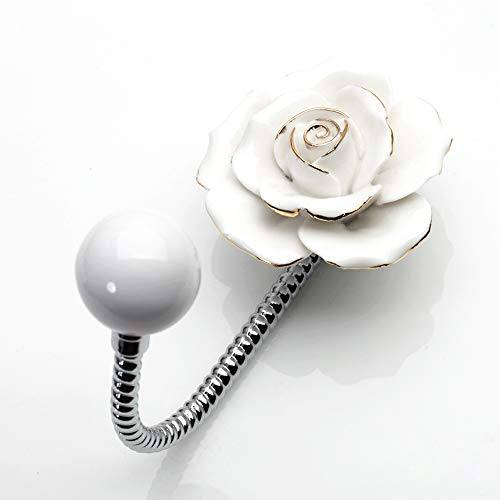 Beautiful 3D Flower Ceramic Wall Coat Hook White with Gold - Plated Edge Chrome Decorative Robe Hook Scarf Bag Towel Hat etc for Kitchen Bathroom Office Rose White