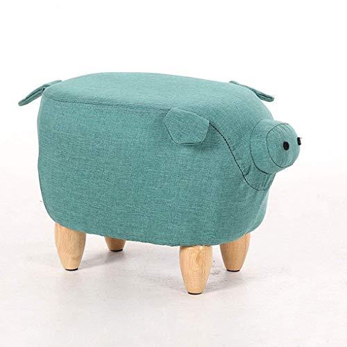 XM Poufs ZfgG Tabouret rembourré Tabouret de Porc créatif en Bois Pouf Pouf Chaussures Enfants Banc Mignon Dessin animé Non-Slip Table Basse Tabouret (Couleur : Green)