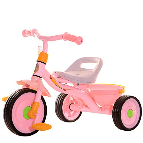 Kids' Tricycles, 2 in 1 Kids Steer Stroller Trike Child Lightweight Mini Outdoor Bike Small Portable Outdoor Toddler Tricycle with Bin for Boys and Girls 1-6 Years Old (Pink)