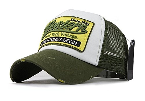 Trucker Mesh Baseballcap Western New York Distressed Snapback Vintage Used Look Retro Sommer Oldschool Kappe Mütze Cap Schirmmütze Basecap, Grün, verstellbar von ca 55-60cm